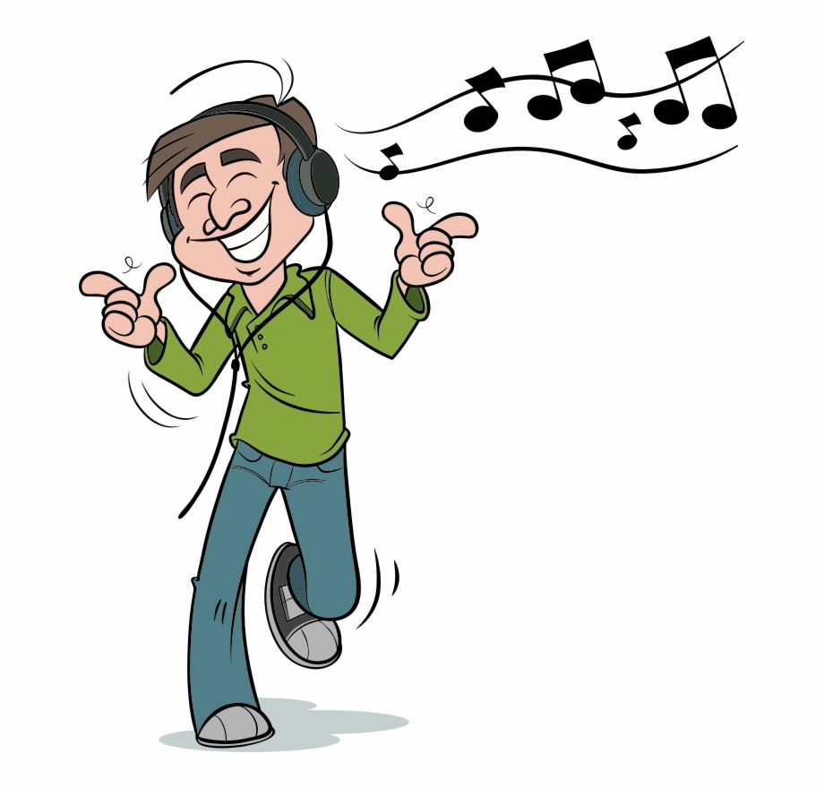 Man Listening To Music Listen To Music Cartoon Transparent Png Download 4766455 Vippng