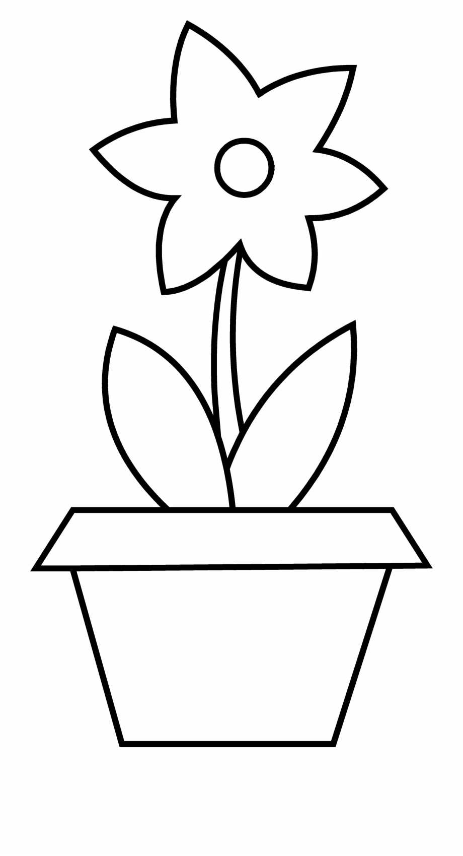 Plant Clipart Colouring Flower Pot Outlines Transparent Png Download 484027 Vippng