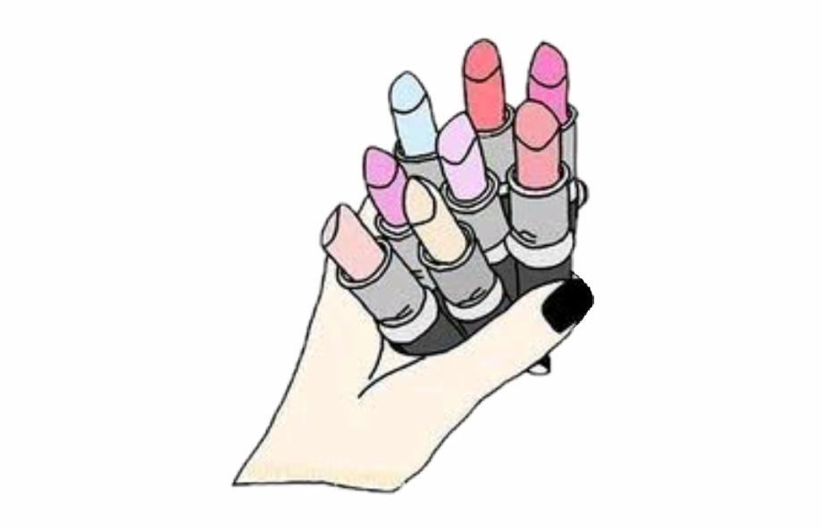 Beauty Makeup Maquiagem Hand Lipstick Overlay Doodle Tumblr