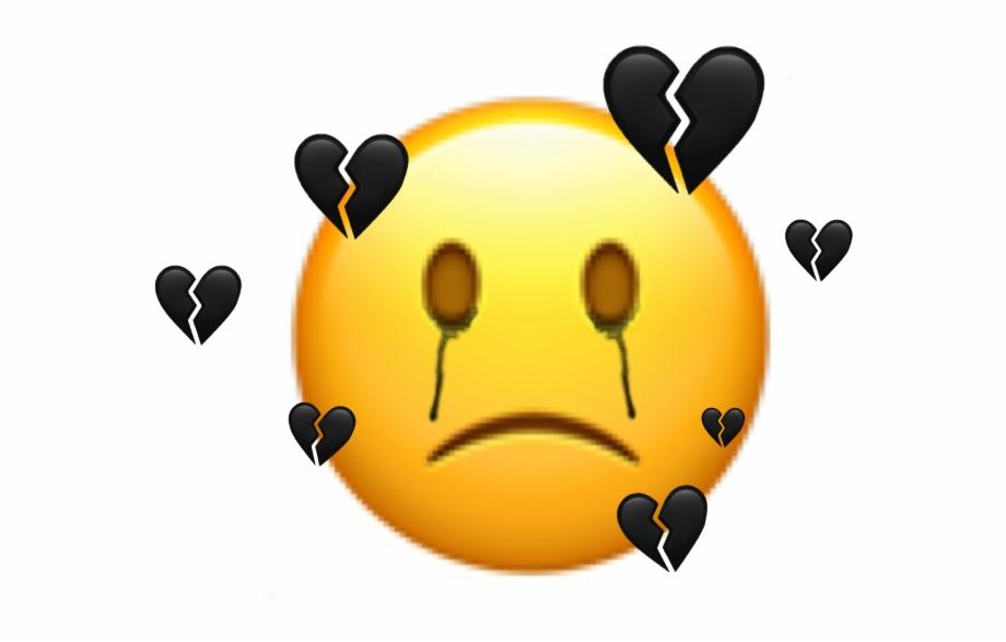 Freetoedit Sticker Emoji Sad Broken Black Mood Black