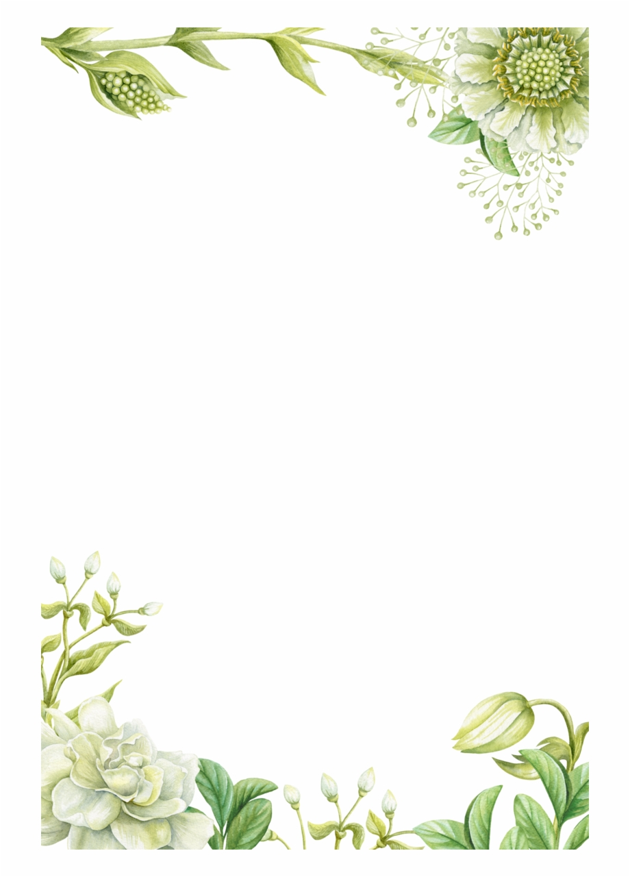Green Floral Border Transparent Background PNG | PNG Arts |Green Flower Border
