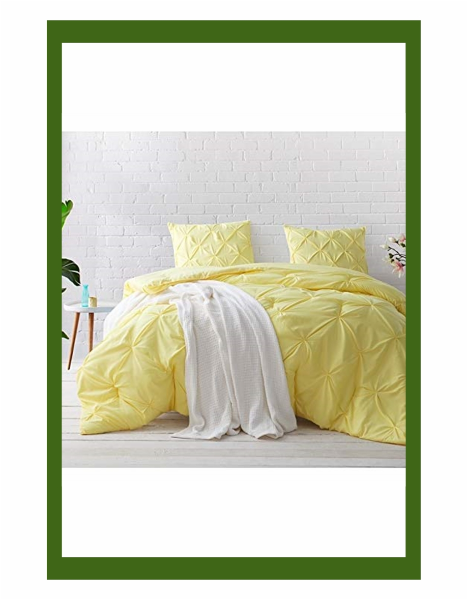 Byourbed Byb Limelight Yellow Pin Tuck Comforter Set Pastel Yellow Bed Set Transparent Png Download 5223288 Vippng