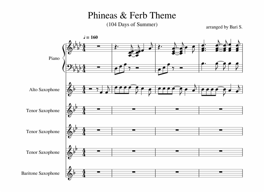 Phineas Ferb Theme Fixed Audio Sheet Music Skillet Monster