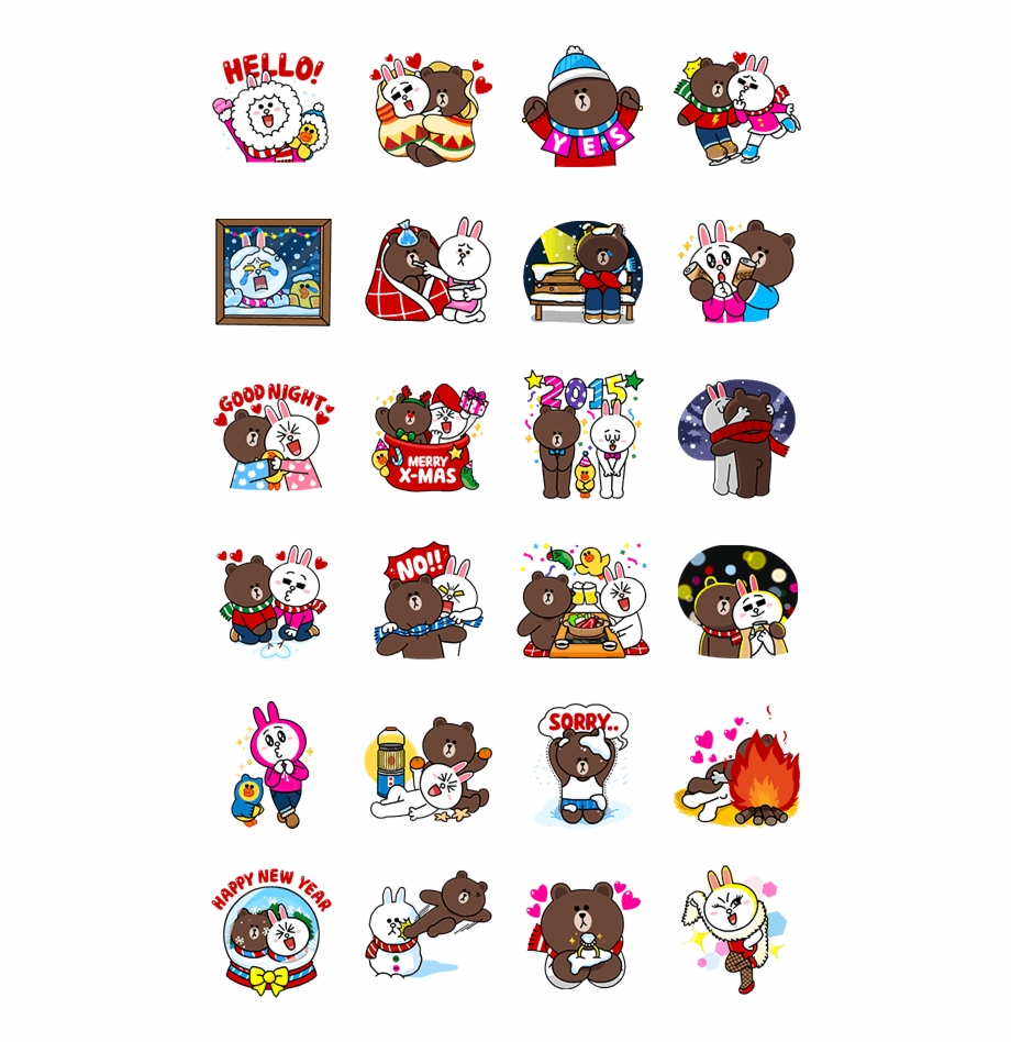 Cony's Snug Winter Date By Line - Line Stickers Png Pack
