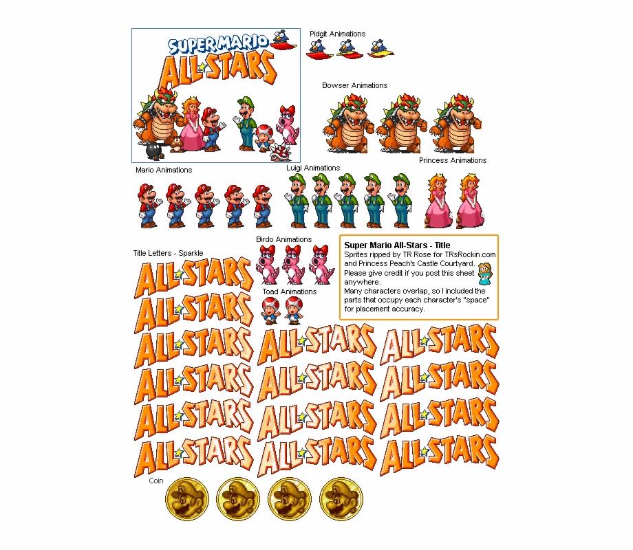 Super Mario Bros Sprites Nes Png Super Mario All Stars Title