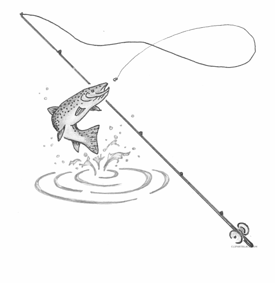 Fishing Pole Clipart Fishing Pole With Fish Transparent Png Download 5390847 Vippng