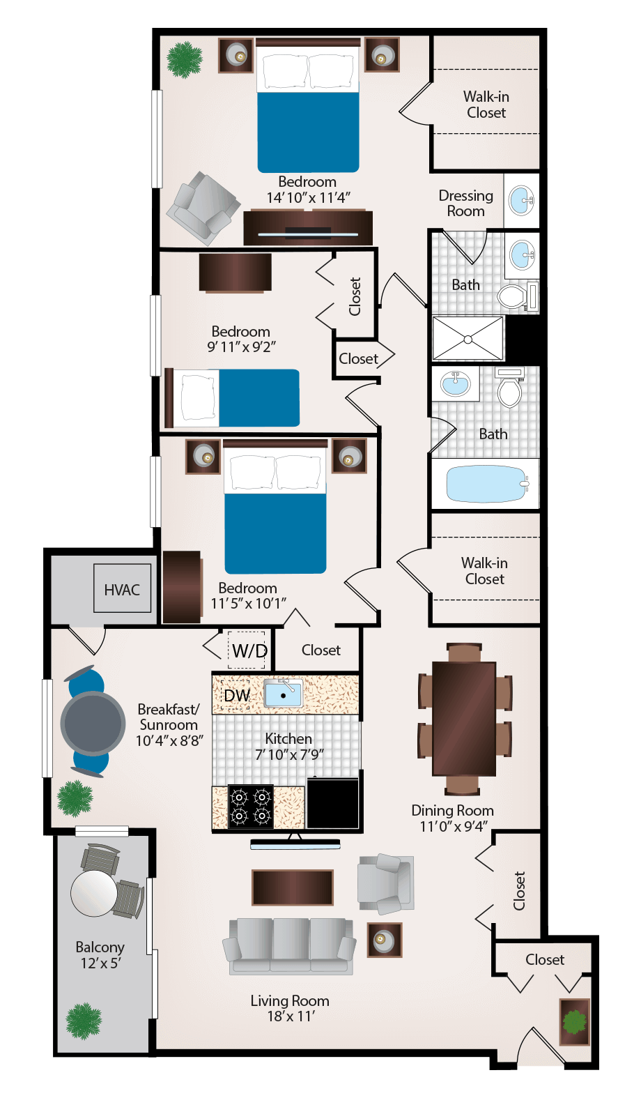 3 Bedroom 2 Bathroom Apartment Near Silver Spring Three Bedroom Apartments Floor Plans Transparent Png Download 5398083 Vippng