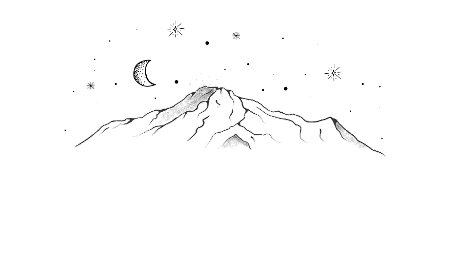 drawing volcano mountains stars moon aesthetic