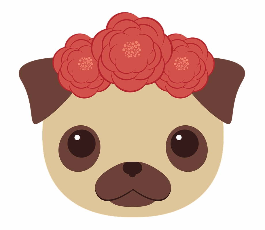 Dog Pug Animals Cute Puppy Flowers Cartoon Brown Dog Transparent Png Download 640645 Vippng