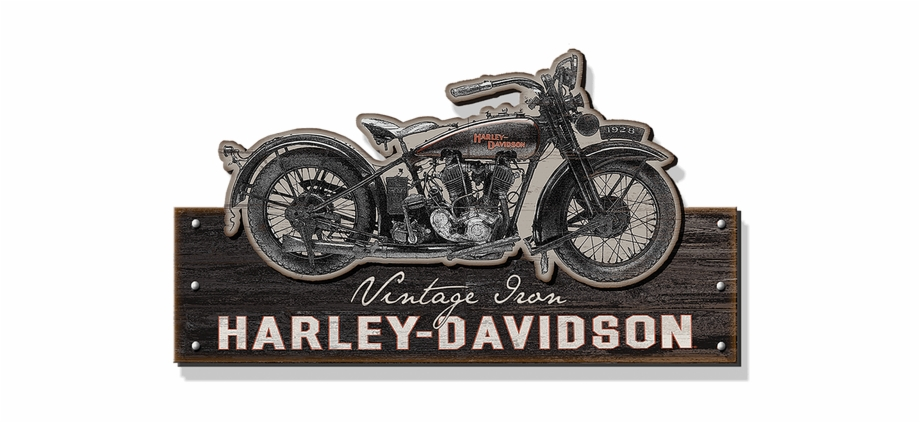 Harley Davidson Motorcycle Silhouette Cut Up Sign Harley