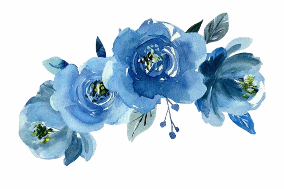 Flower crown blue. Transparent watercolor flowers png