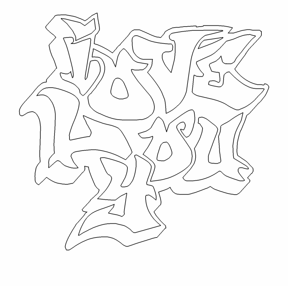 We Love You Coloring Page With I Graffiti Free Online - Love ...
