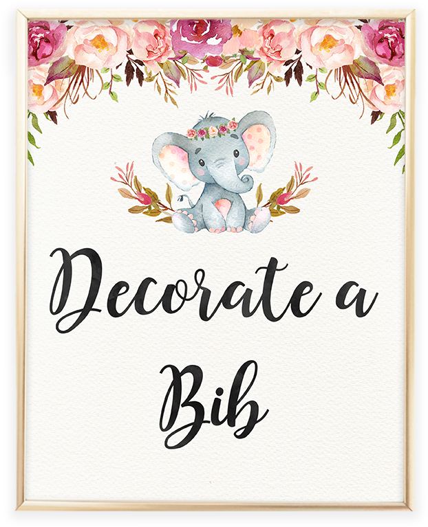 Baby Shower Elephant Png Elephant Baby Shower Decorate A Bib Printable Sign Elephant Floral Boho Baby Shower 1023263 Vippng Elephant rabbit drawing child, cute elephant and rabbit, elephant and rabbits, watercolor painting, png material png. elephant floral boho baby shower