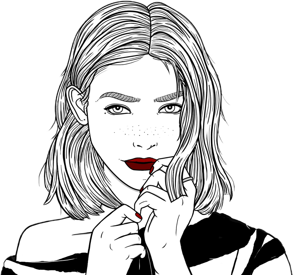 chicas tumblr png - Outlines Chica Tumblr Linda Dibujo Negro Cute ...