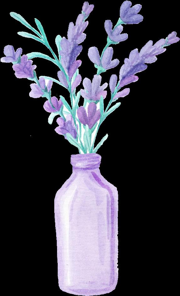 Flowers In Vase Png Ftestickers Watercolor Flowers Lavender Vase Purple Transparent Lavender Drawing Png 695582 Vippng