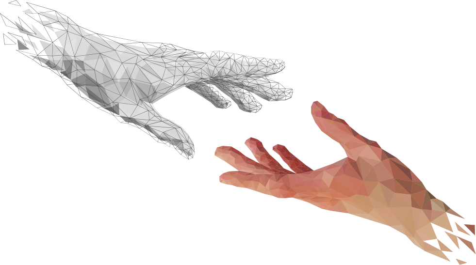 Transparent Hand Png Two Digital Hands Nearly Touching One Is Artificial Sketch 757650 Vippng