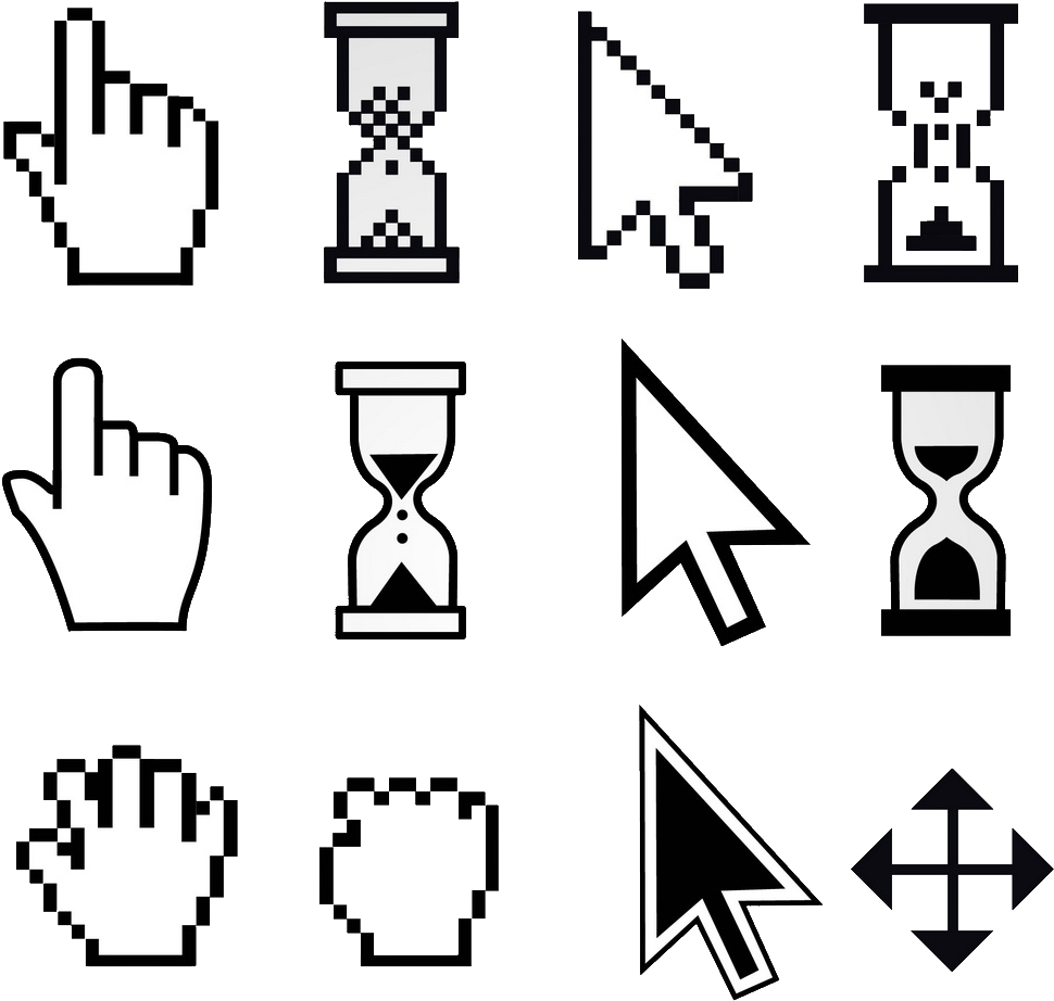 Cursor Click Png Mouse Pointer Hand Png Pixel Art Black And White 809677 Vippng Pin amazing png images that you like. cursor click png mouse pointer hand